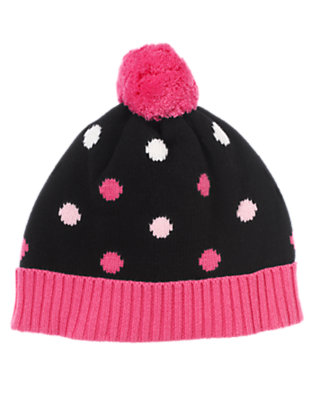 Girls Black Dot Dot Pom Pom Sweater Hat by Gymboree