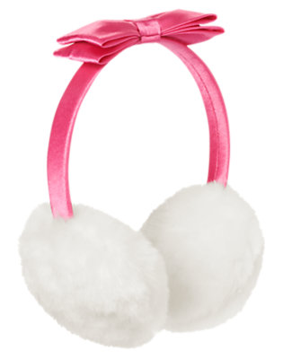 Girls Pirouette Pink Satin Bow Faux Fur Earmuff by Gymboree