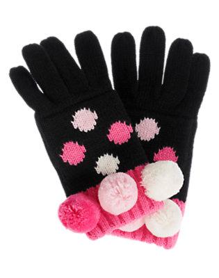 Black Dot Pom Pom Dot Sweater Glove by Gymboree