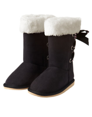 Black Dot Ribbon Faux Suede Boot by Gymboree