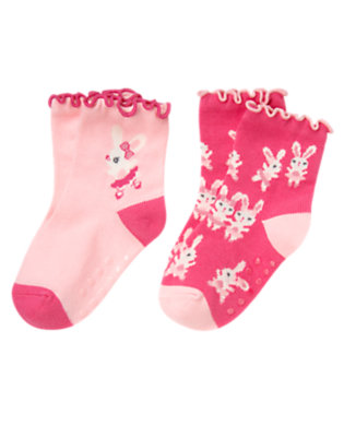 Toddler Girls Pirouette Pink Ballerina Bunny Sock Two-Pack by Gymboree