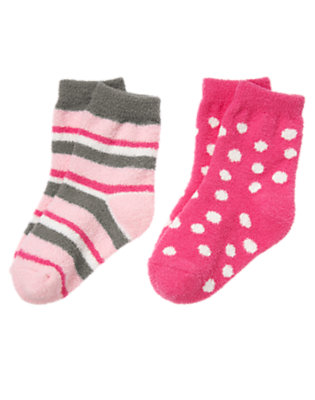 Toddler Girls Pirouette Pink Stripe Dot Chenille Sock Two-Pack by Gymboree