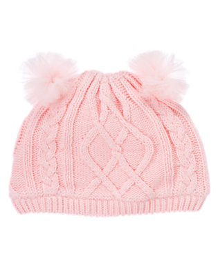 Toddler Girls Ballerina Pink Tulle Pom Pom Sweater Hat by Gymboree