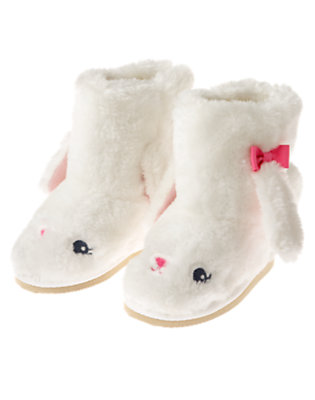 Vanilla Ivory Bunny Faux Fur Boot by Gymboree
