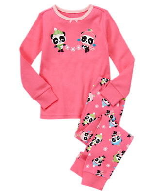 Girls Candy Pink Panda Snowflake Two-Piece Gymmies® by Gymboree