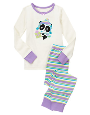 Ivory Holiday Panda Two-Piece Gymmies® by Gymboree