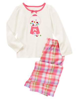 Girls Ivory Heart Gumballs Two-Piece Pajama Set by Gymboree