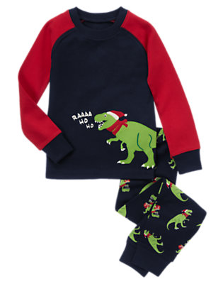 Toddler Boys Gym Navy Santa Dino Two-Piece Gymmies® by Gymboree