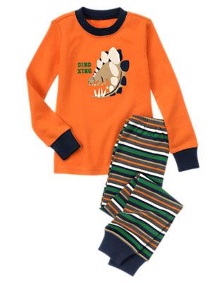 Toddler Boys Dark Orange Dino Xing Two-Piece Gymmies® by Gymboree