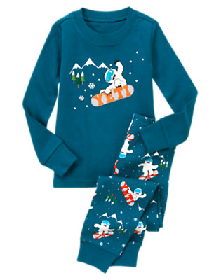 Glacier Blue Yeti Snowboarder Two-Piece Gymmies® by Gymboree