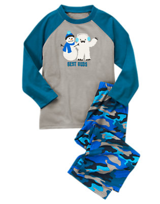 Toddler Boys Steel Grey Snowman & Yeti Two-Piece Pajama Set by Gymboree