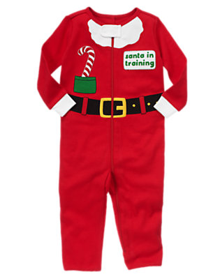 Toddler Girls Festive Red Santa In Training One-Piece Pajama by Gymboree