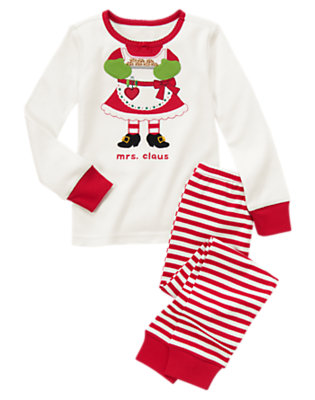 Girls Festive Red Mrs. Claus Two-Piece Gymmies® by Gymboree
