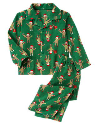 Toddler Boys Pine Green Sock Monkey Microfleece Two-Piece Pajama Set by Gymboree