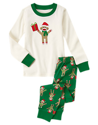 Pine Green Holiday Sock Monkey Two-Piece Gymmies® by Gymboree