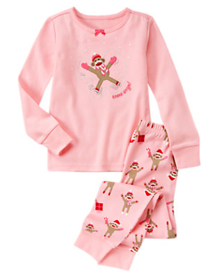Girls Candy Pink Sock Monkey Snow Angel Two-Piece Gymmies® by Gymboree