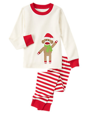 Toddler Girls Ivory Sock Monkey Two-Piece Gymmies® by Gymboree