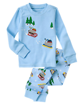 Ice Blue Sledding Whale Two-Piece Gymmies® by Gymboree