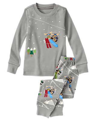 Winter Grey Skiing Moose Two-Piece Gymmies® by Gymboree