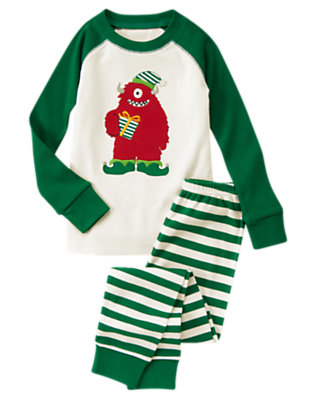 Pine Green Holiday Monster Two-Piece Gymmies® by Gymboree