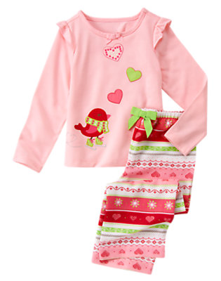 Candy Pink Hearts & Birdie Two-Piece Pajama Set by Gymboree