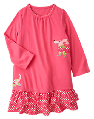 Girls Bright Pink Polka Dot Puppy Pajama Gown by Gymboree