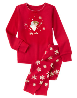Girls Holiday Red Fairy Cute Two-Piece Gymmies® by Gymboree