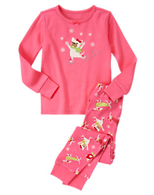 Bright Pink Ice Skating Puppy Two-Piece Gymmies® by Gymboree
