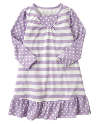 Toddler Girls Purple Heart Stripe Dot Pajama Gown by Gymboree