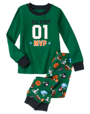 Toddler Boys Pine Green All Star MVP Two-Piece Gymmies® by Gymboree