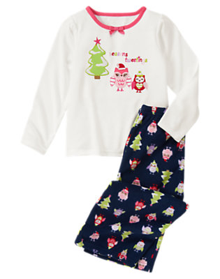 Girls Peacoat Navy Owl Holiday Two-Piece Gymmies® by Gymboree