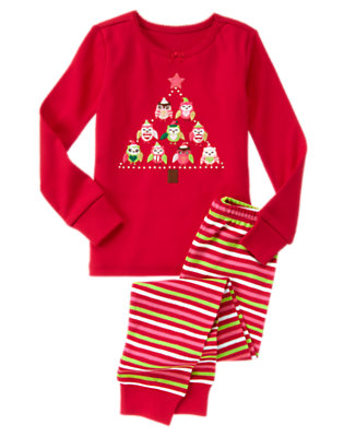 Toddler Girls Holiday Red Owl Tree Two-Piece Gymmies® by Gymboree