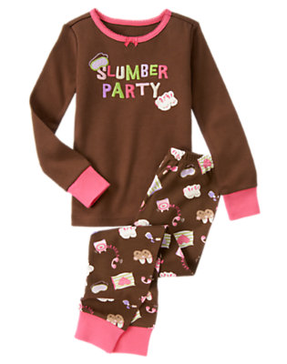 Girls Chocolate Brown Slumber Party Two-Piece Gymmies® by Gymboree