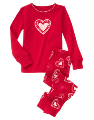 Toddler Girls Valentine Red Glitter Heart Two-Piece Gymmies® by Gymboree