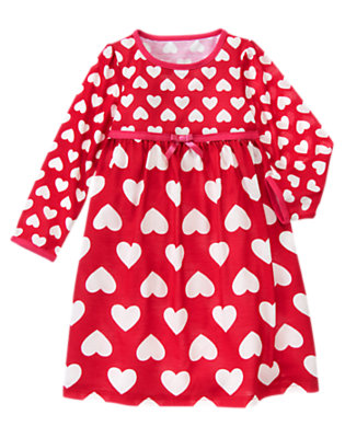 Girls Valentine Red Heart Bow Heart Pajama Gown by Gymboree