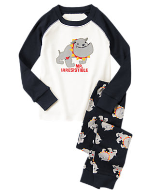 Toddler Boys Gym Navy Mr. Irresistible Bulldog Two-Piece Gymmies® by Gymboree