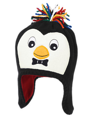 Toddler Boys Black Penguin Earflap Sweater Hat by Gymboree