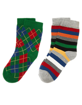 Ivy Green Argyle Stripe Sock Two-Pack by Gymboree