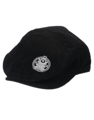 Boys Black Train Corduroy Cap by Gymboree