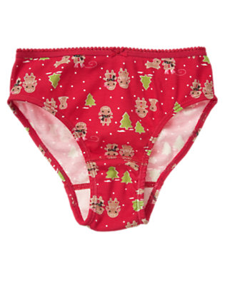 Girls Cheery Red Gingerbread Girl Panty by Gymboree