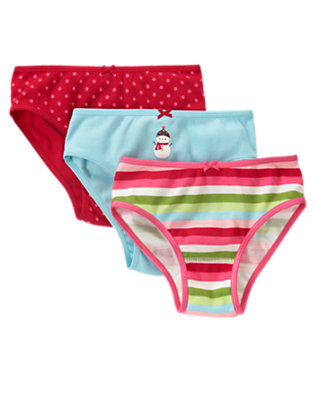 Toddler Girls Cheery Red Dot Dot Stripe Panty Three-Pack by Gymboree