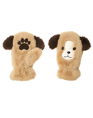 Tan Faux Fur Puppy Mitten by Gymboree