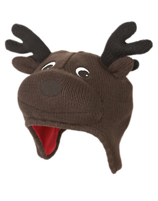 Toddler Boys Dark Brown Reindeer Sweater Hat by Gymboree