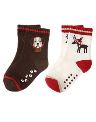 Toddler Boys Dark Brown Reindeer Puppy Sock Two-Pack by Gymboree