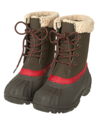 Boys Dark Brown Lace Up Cold Weather Boot by Gymboree