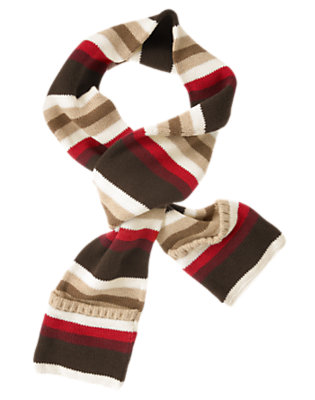 Dark Brown Stripe Stripe Sweater Pocket Scarf by Gymboree