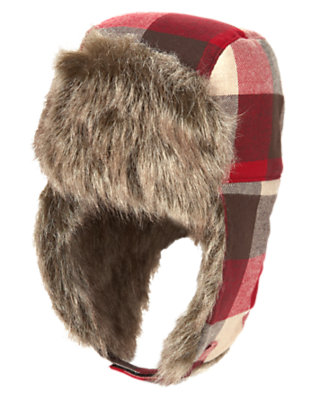 Alpine Red Plaid Faux Fur Plaid Flannel Hat by Gymboree
