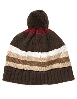 Boys Dark Brown Stripe Stripe Sweater Hat by Gymboree