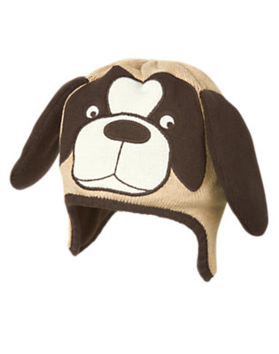 Boys Tan Heather Dog Sweater Hat by Gymboree