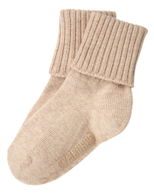 Boys Tan Heather Foldover Sock by Gymboree